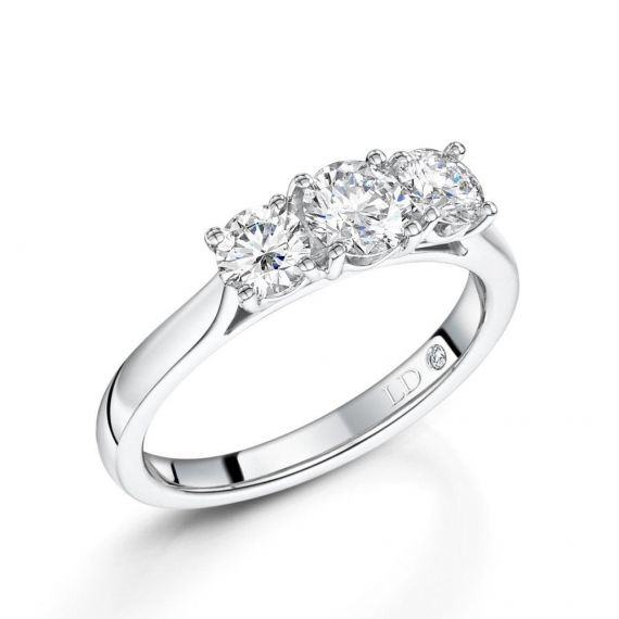 0.50ct 3 Stone Diamond Ring in Platinum