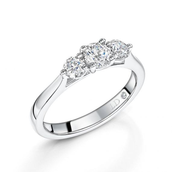 0.75ct Platinum Brilliant-Cut 3 Stone Diamond Ring