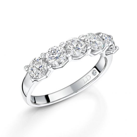 Platinum Brilliant-Cut 5 Stone Diamond Eternity Ri