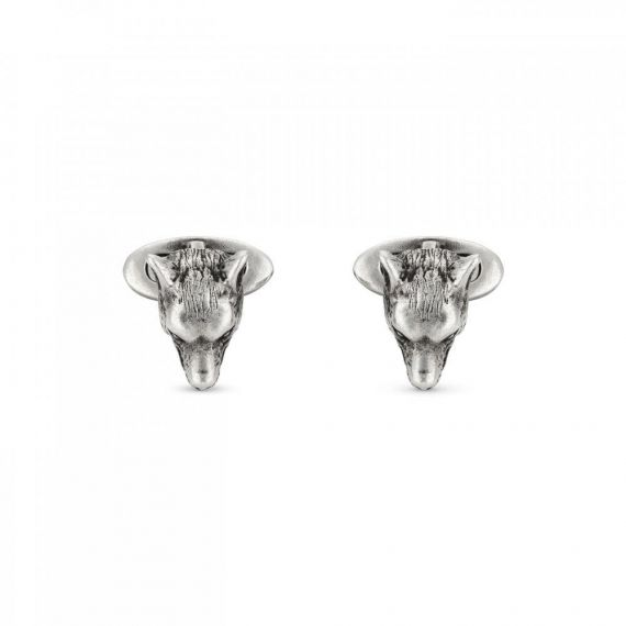 Anger Forest Wolf Cufflinks in Aged Silver