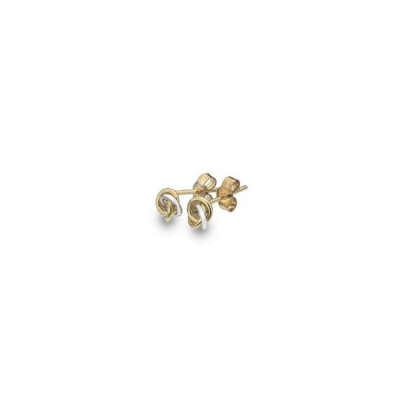 9ct Yellow and White Gold Love Knot Stud Earrings