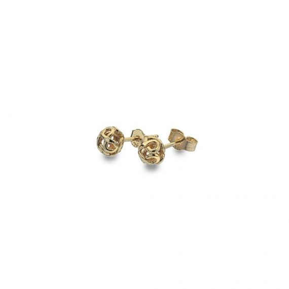 9ct Yellow Gold Infinity Bead Stud Earring
