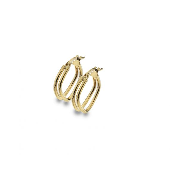 9ct Yellow Gold Double Square Split Hoop Earrings