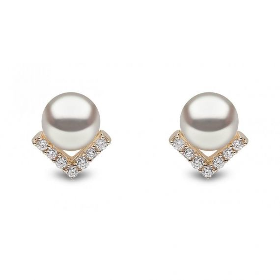 9ct Yellow Gold Freshwater Pearl and Diamond Studs