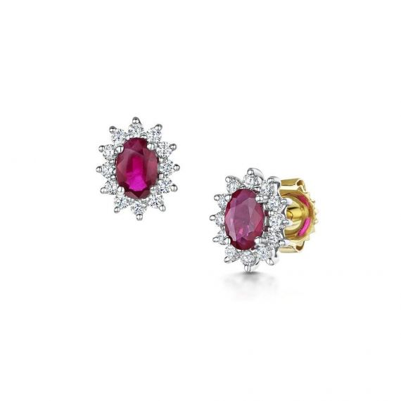 18ct White and Yellow Gold Ruby and Diamond Stud E