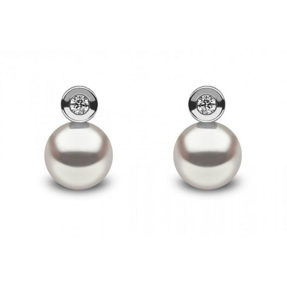 18ct Diamond & Freshwater Pearl Stud Earrings
