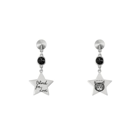 Star and Black Spinel Drop Earrings