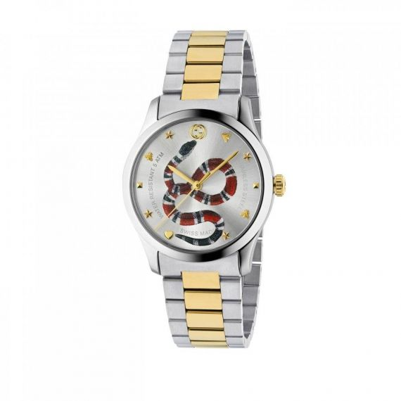G-Timeless Quartz 38mm Snake Motif Dial Watch