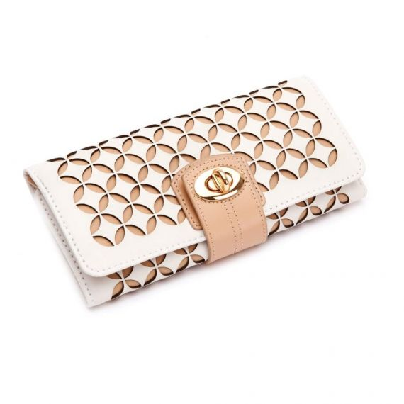 Chloe Cream Leather Jewellery Roll