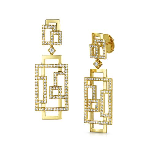 18ct Yellow Gold Art Deco Rectangular Drop Earring