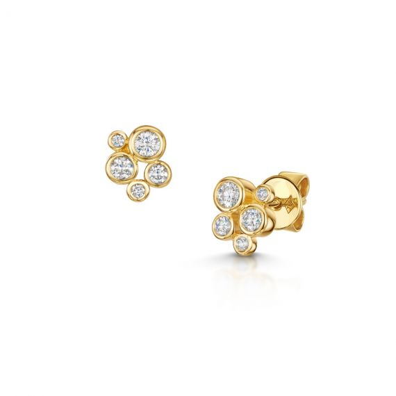 18ct Yellow Gold 0.41ct Diamond Bubble Cluster Studs