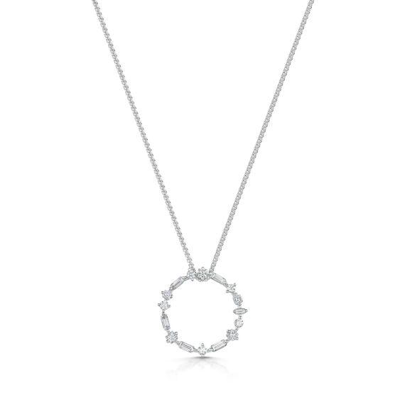 18ct White Gold 0.50ct Diamond Interstellar Circle Necklace