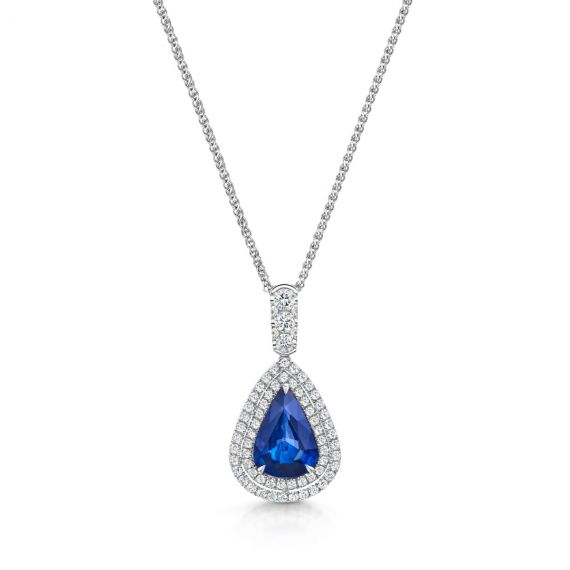 2.00ct Sapphire and Diamond Halo Necklace