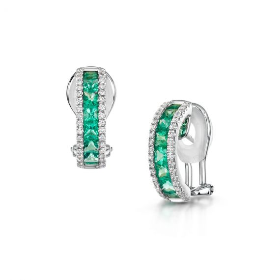 18ct White Gold, Emerald and Diamond Hoops