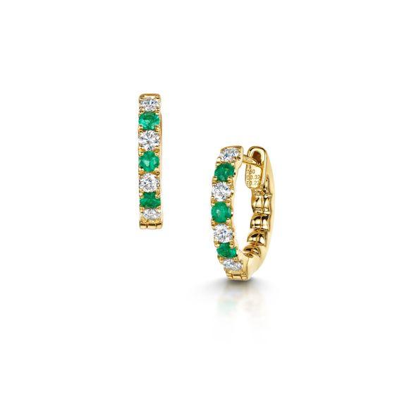 18ct Yellow Gold, Emerald and Diamond Hoop Earrings