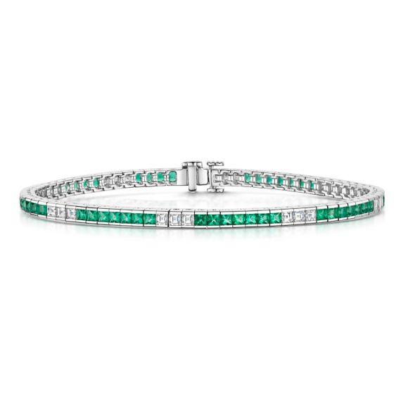 18ct White Gold, Emerald and Diamond Bracelet