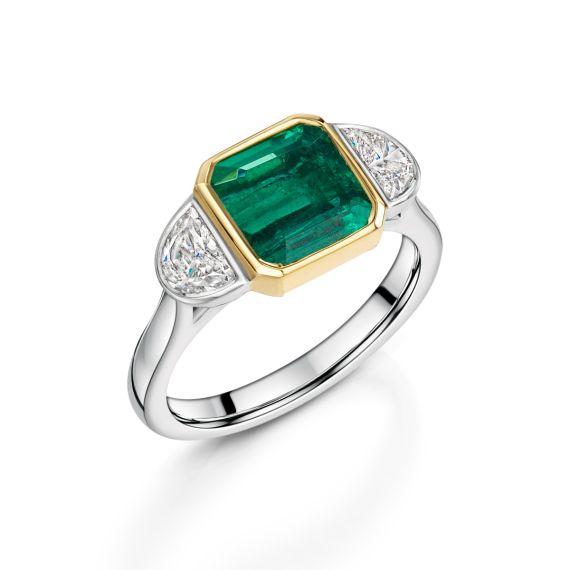 Platinum Cushion Cut Emerald and Diamond Ring