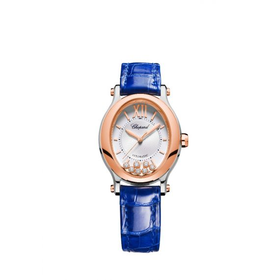 Happy Sport Oval Automatic Steel and Rose Gold Watch