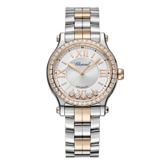 Happy Sport Steel and Rose Gold 33mm Automatic Watch