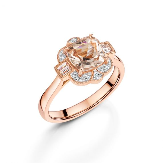 18ct Rose Gold and Morganite Vintage Style Ring