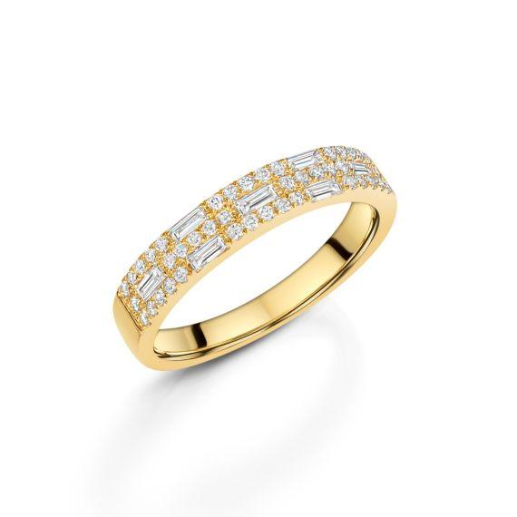 18ct Yellow Gold Nova 3 Row Ring