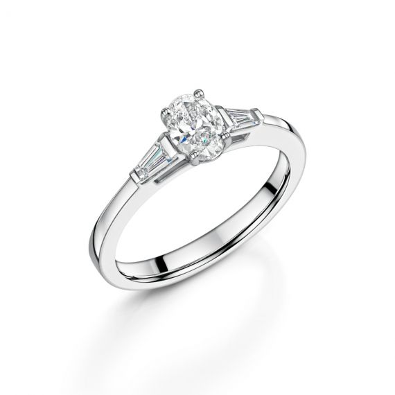 .52ct G VS2 Oval Cut Platinum Ring with Tapered Shoulders