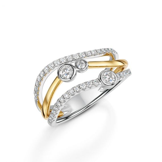 18ct White and Yellow Gold 3 Row Bubble Ring