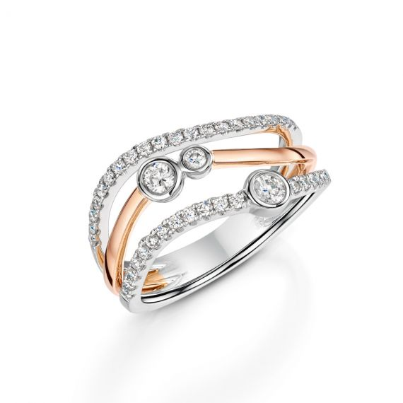 18ct White and Rose Gold 3 Row Bubble Ring