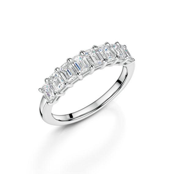 1.53ct Emerald Cut Diamond 8 Stone Ring