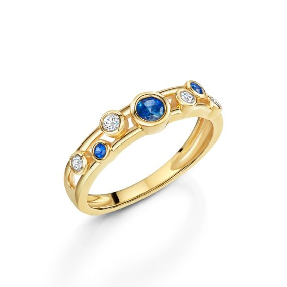 18ct Yellow Gold, Diamond and Sapphire Bubble Ring