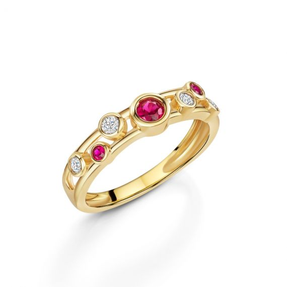 18ct Yellow Gold, Diamond and Ruby Bubble Ring