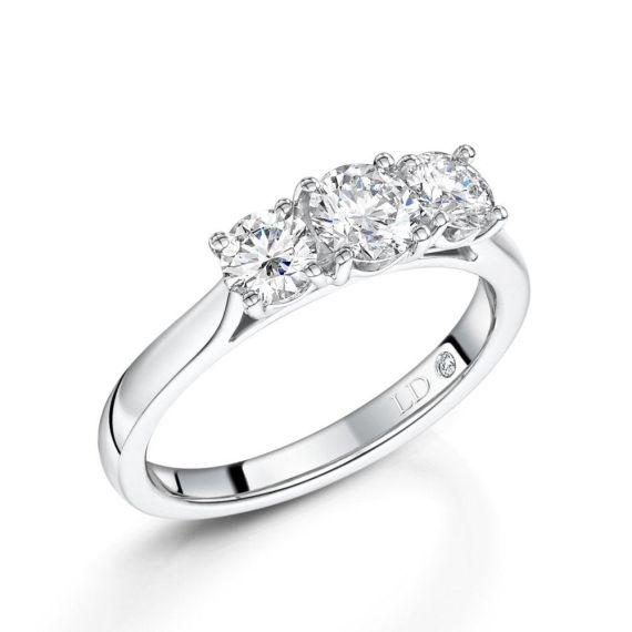 0.50ct 3 Stone Diamond Ring in Platinum