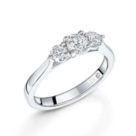 0.75ct Platinum Brilliant-Cut 3 Stone Diamond Ring