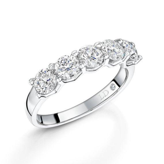 Platinum Brilliant-Cut 5 Stone Diamond Eternity Ri