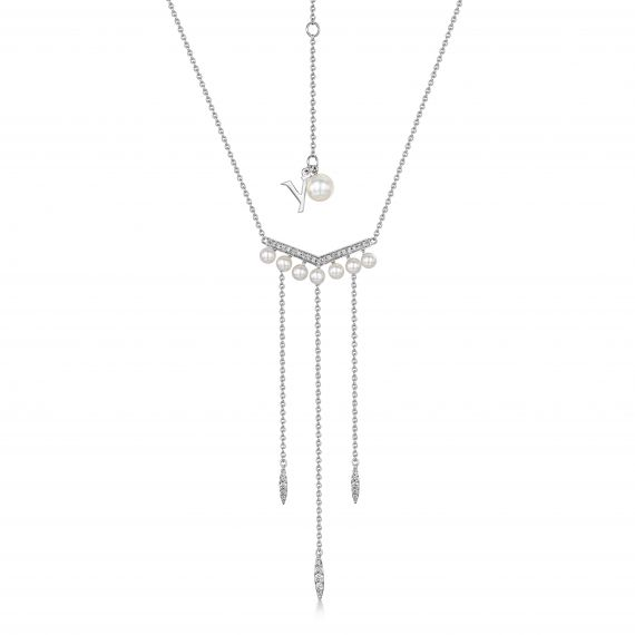 18ct white gold pearl and diamond drop necklace