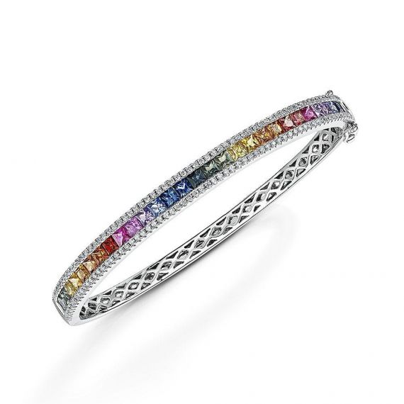 18ct White Gold Rainbow Sapphire and Diamond Bangl