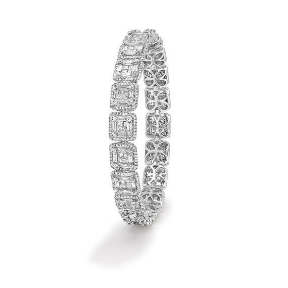 18ct White Gold Fancy Cut Diamond Mosaic Bracelet