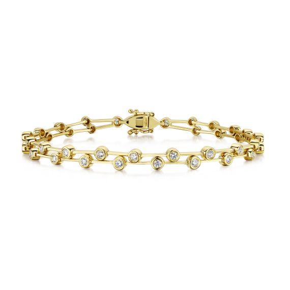2 Row Line Bracelet Set With 0.90ct Diamonds