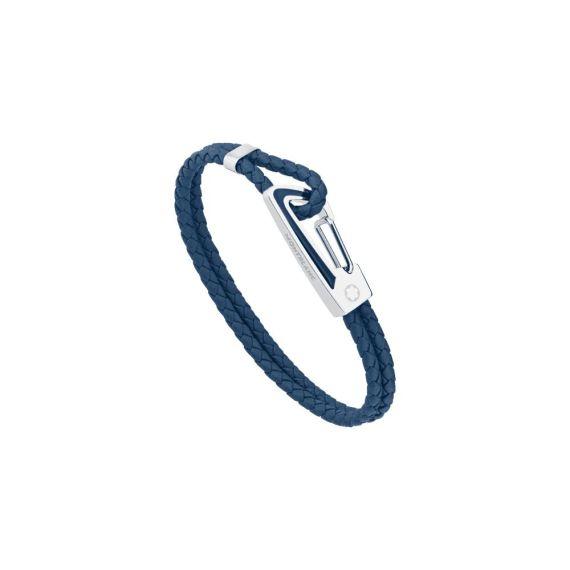 Woven Blue Leather Bracelet