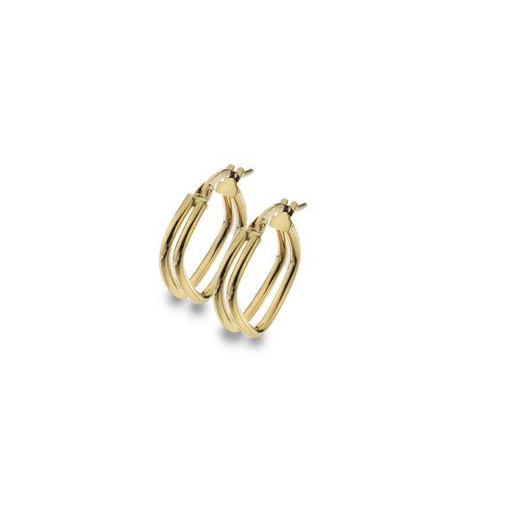 9ct Yellow Gold Double Square Split Hoop Earrings