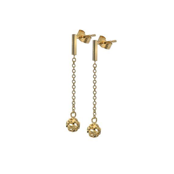 9ct Yellow Gold Infinity Bead Drop Earrings