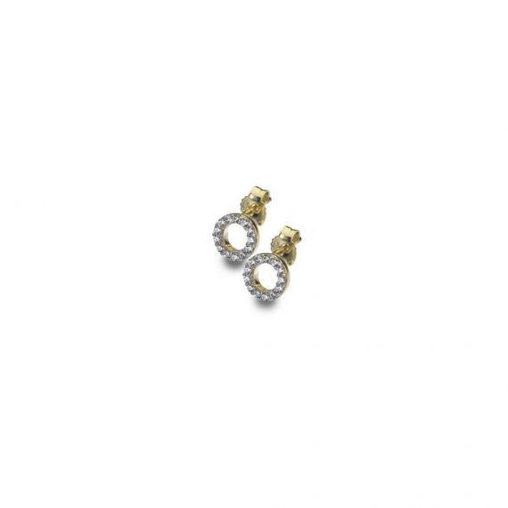 9ct Yellow Gold Circle Stud Earrings with Cubiz Zi