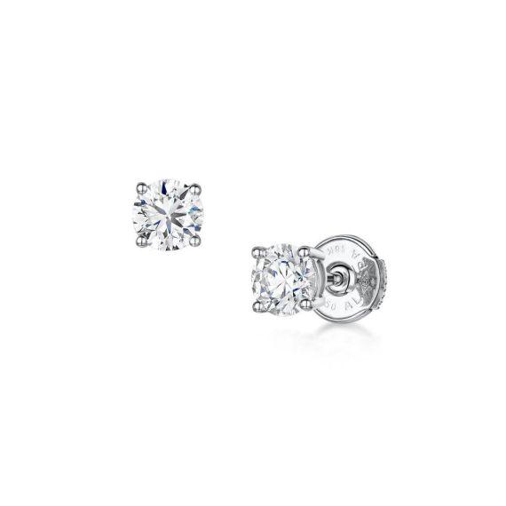 18ct White Gold .81ct Brilliant-Cut Diamond Stud E