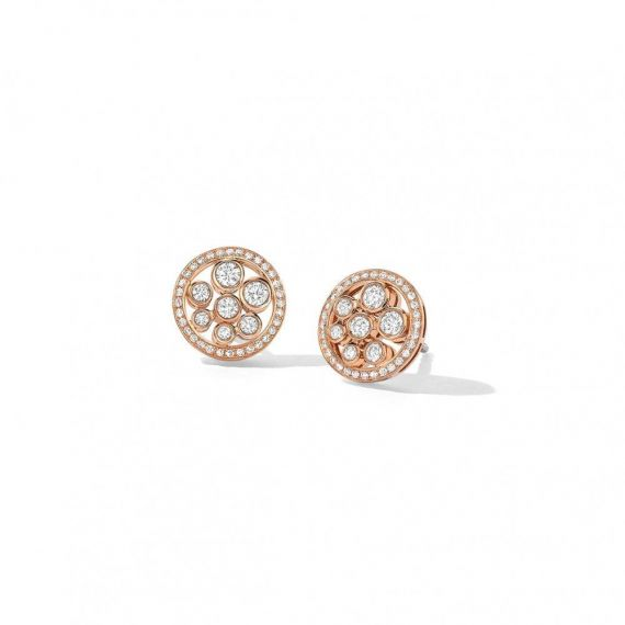 18ct Rose Gold Diamond Set Circle Bubble Earrings