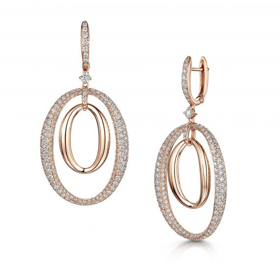 18ct Rose Gold and Diamond Oval Statement Earrings