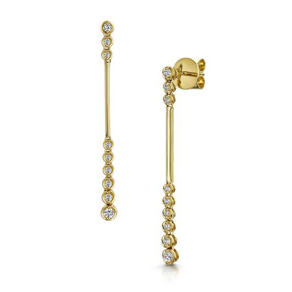 18ct Yellow Gold Diamond Set Bubble Drop Earrings