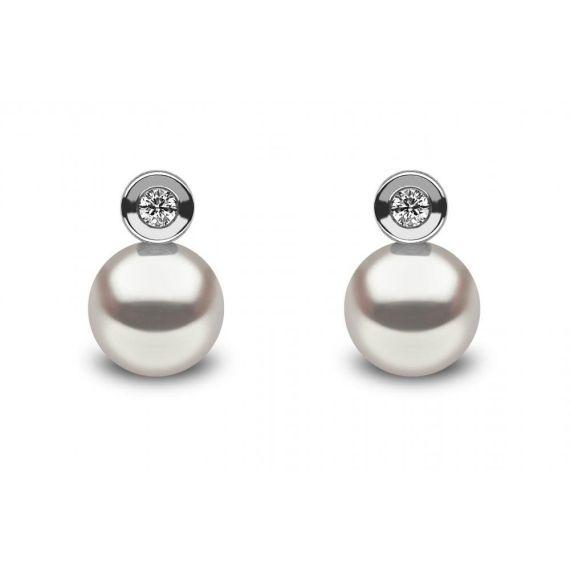 18ct Diamond & Freshwater Pearl Stud Earrings