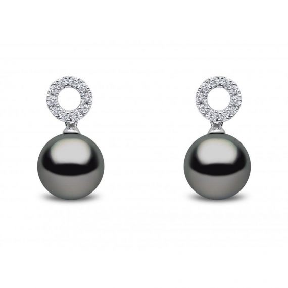 Tahitian Pearl and Diamond Earrings