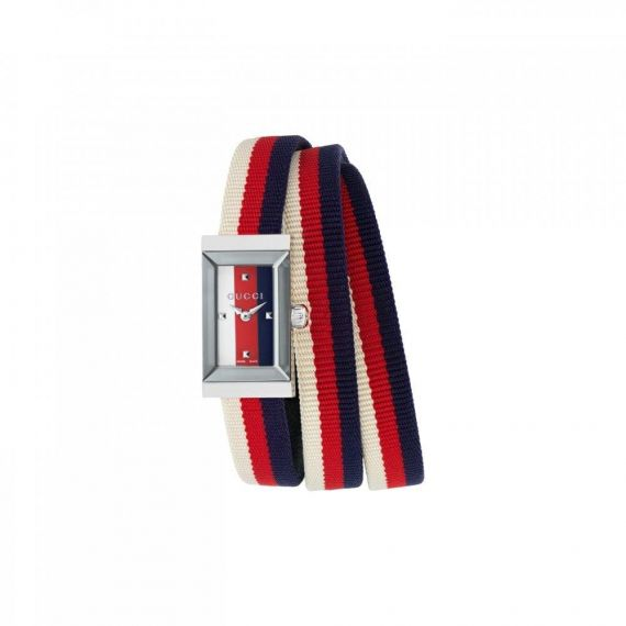 G-Frame Steel and Multicolour Fabric Strap Watch