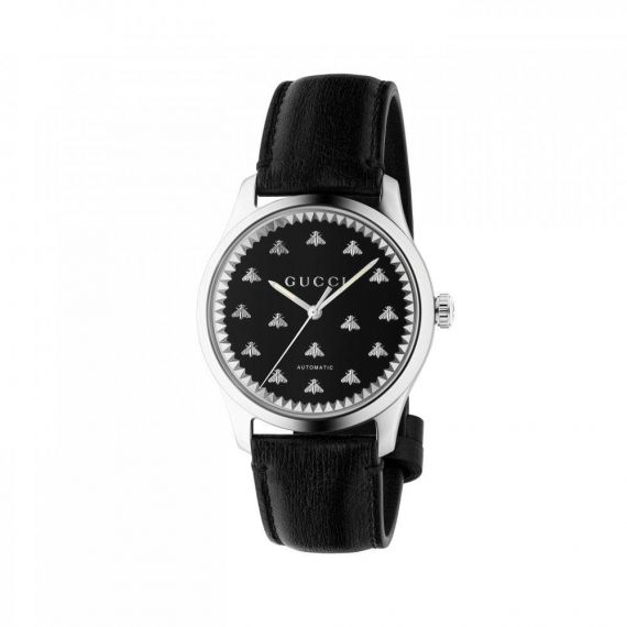 G-Timeless Automatic Black Leather Watch